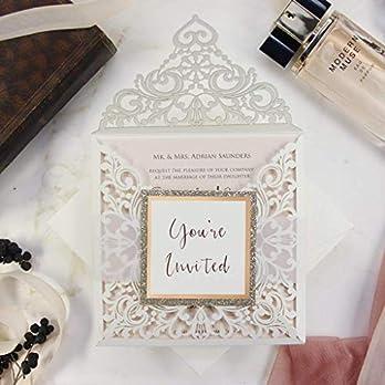 Einladungskarten Lasergeschnittene mit Spitze – Hochzeitskarten Einladungen edles Papier für Gebustag, Hochzeit, Taufe…