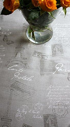 WJDhome Motif Paris Gris, gaufré, facile à nettoyer, EN Toile cirée Dimensions : 140 cm x 300 cm