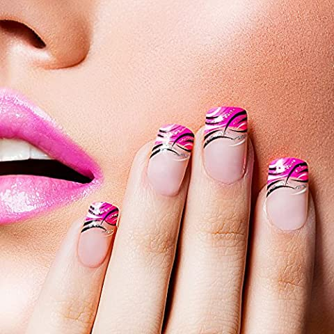 24 Uñas Postizas Manicura Francesa Puntas Medianas Rosa Purpurina Cobertura Total de Bling Art, RU