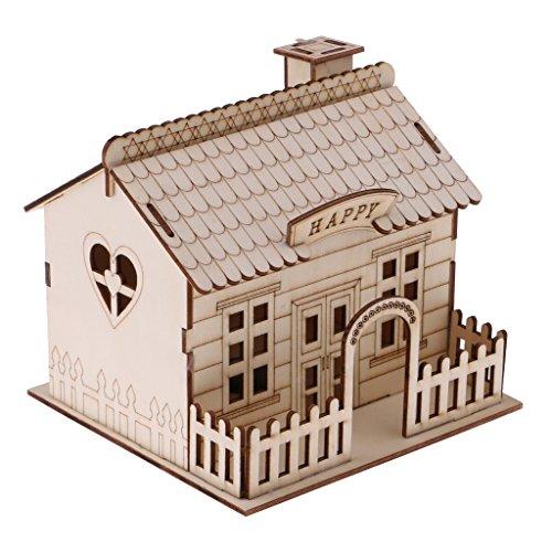 Hucha Caja de Ahorro de Monedas Dineros Forma de Villa de Madera Regalo Creativo Decoración de Casa - C
