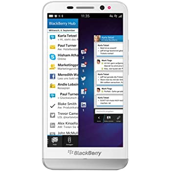 BlackBerry Z30 Smartphone (12,7 cm (5 Zoll) AMOLED Touchscreen, 8 Megapixel Kamera, 2GB RAM, 16GB Speicher) weiß