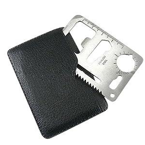 SODIAL (R) Multifuncion al aire libre Mini Supervivencia en Emergencias tarjeta de credito Cuchillo de camping herramienta 11 en 1
