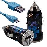Seluxion - Chargeur voiture allume cigare USB avec câble data avec motif HF16 pour LG : / Optimus L3 E400 / Optimus L5 E610 / Optimus 7 E900 / Viewty Smile GT400 / GT500 / GT505 / Optimus GT540 / Optimus One P500 / Optimus L7 P700 / Optimus 3D P920 / Prada P940 / Optimus Black P970 / Optimus 2X P990