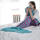 Manta hecha a mano hecha punto de la cola de la sirena Sofá caliente del edredón del sofá de la sala de estar para los adultos y los cabritos 95 * 195cm (37.4inches * 76.77inches) en cinco colores ( Color : Rose red and blue )
