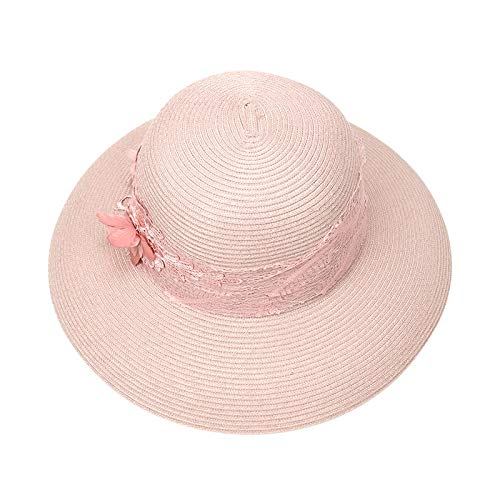 JEOSNDE Sommer Outdoor Stickerei Bogen Großen Stroh Visier Dame Strand Sonnenschirm Hut Polyester Fiber Flach Dome M (56-58 cm) Lässige Kappe Sonnenhüte (Color : Pink) -
