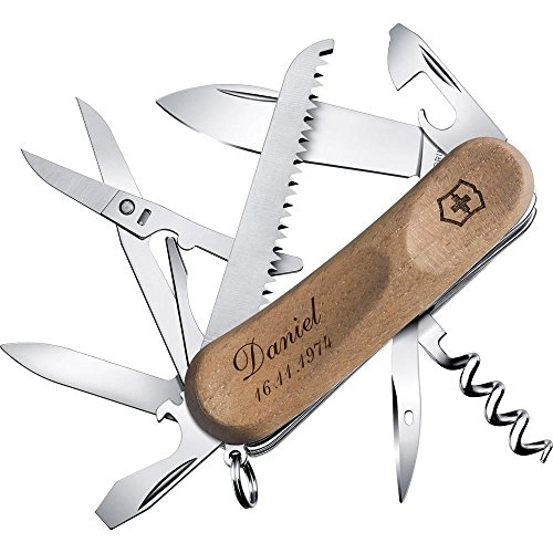 TH-Design Taschenmesser Victorinox EvoWood 17 Nussbaum 2.3911.63 Inkl. Gravur Wunschtext -