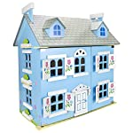Leomark Wooden Blue Villa Doll House with Furnishings