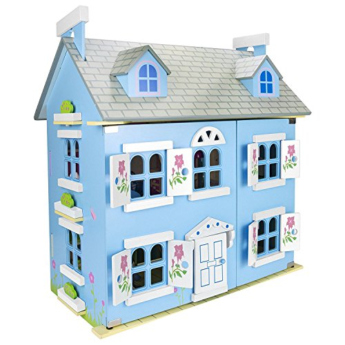 Holz Blau Villa Doll Haus mit Mobiliar