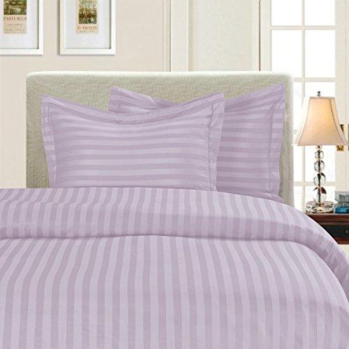 Eleganten Komfort® Falten & farbbeständige 1500Fadenzahl-Damast Streifen Ägyptische Qualität Luxuriös seidig weich Bettbezug-Set, King/Cal-King, lila -