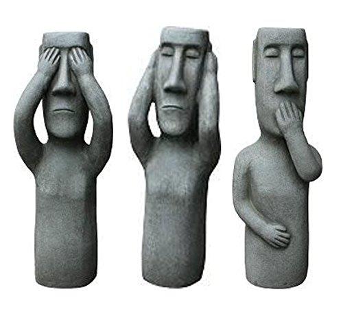Terracotta Dekofiguren – Dekorative & Hochwertige Gartenfiguren im 3er Set - Nichts Sehen, Hören, Sagen - Höhe 36cm - Lustige Außenfiguren/Kleine Statuen/Graue Steinfiguren