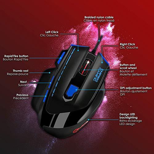 EMPIRE GAMING - Nouveau - Souris gamer filaire Hellhounds gamers - 7200 DPI - 7 boutons programmables avec Logiciel - Rétro-éclairage RGB - ... 5