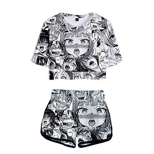Ahegao Anime T-Shirt Kurzarm Trainingsanzug Shirts Unisex 3D Grafik Druck Crop Top und Kurze Hosen Sets Anzug Pullover Kapuzen Langarm Kapuzenpullover Kostüm und Kinn Kleidung Gr. L, Crop Top 05