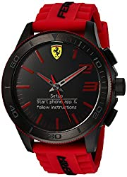 Ferrari Men s Quartz Stainless Steel and Silicone Smart Watch Color Red Model 830376