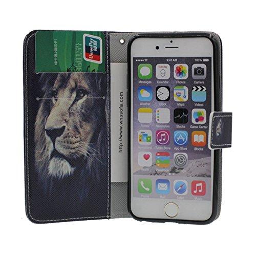 Schutzhülle Apple iPhone 6S Plus Hülle, PU Leder Geldbörse Brieftasche Case Unterstützen Feature Wildes Tier Muster Serie Verschiedene Farbe Schutzhülle für iPhone 6 Plus / 6S Plus 5.5 inch - Tiger a1