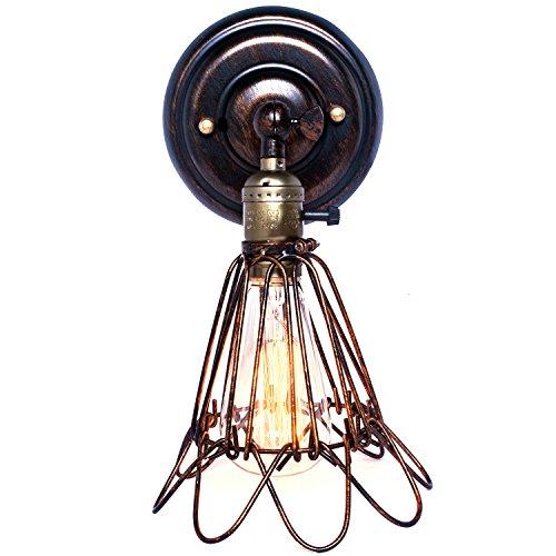 Pauwer Industrial Wandleuchte Edison Vintage Wandleuchte Leuchte Metallkäfig Wand Neben Lampen (Schraube-lampen-farbtöne)