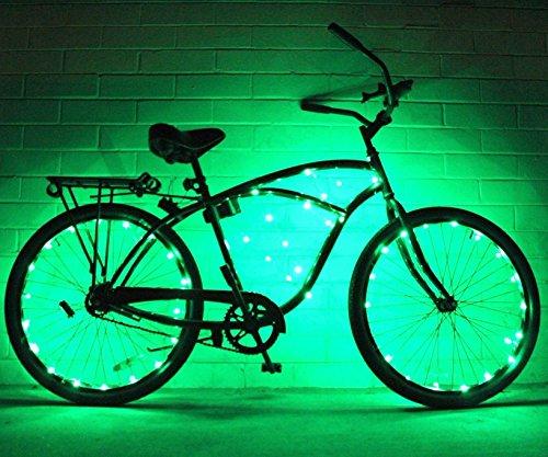 GlowrRders, ultrahelle Fahrrad-LED-Lichterkette, verschiedene Farben, Fahrradreifen-Accessoires, Burning-Man-Zubehör, 2er-Pack , grün