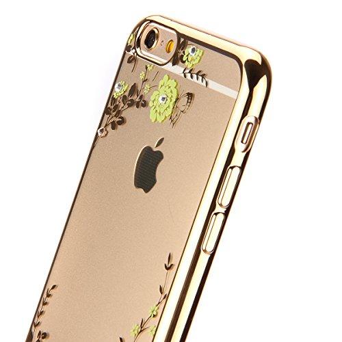 Coque iPhone 6S Plus,Coque iPhone 6 Plus,Coque Étui Case pour iPhone 6 / 6S Plus,ikasus® Plating Rose Golden Placage or rose Coque iPhone 6 / 6S Plus Silicone Étui Housse Téléphone Couverture TPU Clai Fleur jaune