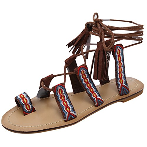 Oasap Women's Open Toe Tassel Lace up Flat Thong Sandals Brown
