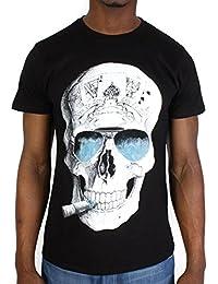Tshirt Monsterpiece Skull Bleu Noir