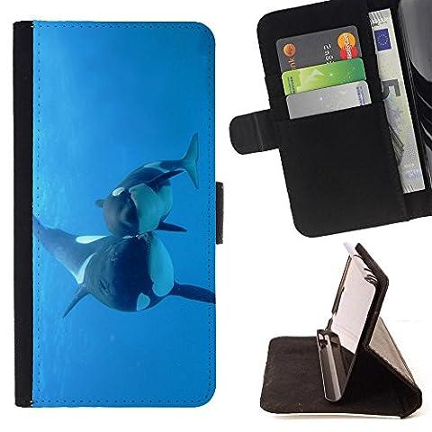 STPlus L'orque baleine dans l'eau Coque Portefeuille Housse de Protection Étui pour Samsung Galaxy Grand Prime