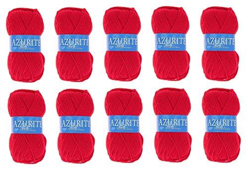 Lot 10 Pelotes de laine Azurite 100% Acrylique Tricot Crochet Tricoter - Rouge - 156