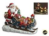 Weihnachtsmann mit Schlitten LED beleuchtet Weihnachtsdeko Deko Figur Skulptur