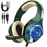 Beexcellent Gaming Headset für PS4 PC Xbox One Stereo Sound Over-Ear Kopfhörer mit Rauschunterdrückung Mikrofon Lautstärkeregler und LED-Licht für Laptop Tablet Mac (grün)