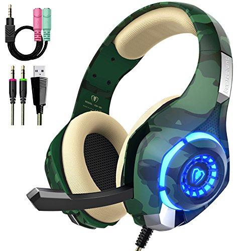 Preisvergleich Produktbild Beexcellent Gaming Headset für PS4 PC Xbox One Stereo Sound Over-Ear Kopfhörer mit Rauschunterdrückung Mikrofon Lautstärkeregler und LED-Licht für Laptop Tablet Mac (grün)