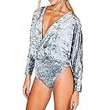 GirlzWalk Damen Crushed Velvet Wrap über Bodysuit Womens Velour Langarm Trikot Top Größen (36 Bis 42) (Silber-Grau, EU 40-42 (UK ML))