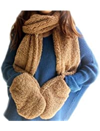 Decus 3-in-1 Fashion Multifunktions-Schal(Mütze,Handschuhe) Damen Winter Schal Super Warm DLH (Khaki #5)