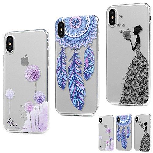 MAXFE.CO 3 × Schutzhülle Tasche Case für iPhone X TPU Silikon Cover Gemalt Muster Etui Protective Schale Bumper Löwenzahn + Traumfänger + Mädchen Löwenzahn + Traumfänger + Mädchen