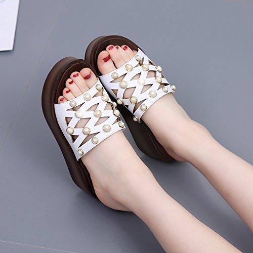 SFSYDDY-7.5Cm Scarpe Bianche Spesso Fondo Femminile Estate Pantofole Parola Sandali Femminili All'Aperto Dei Sandali Di Cuoio Con Piattaforma China 34 Thirty-six