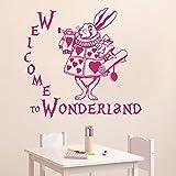 Vinyl Wandtattoo Zitat Alice im Wunderland Buch Welcome to Wonderland Willkommen im Wunderland Kaninchen Innendekor Wandaufkleber Wandsticker Wanddekoration Schlafzimmer Wohnzimmer Kinderzimmer M222