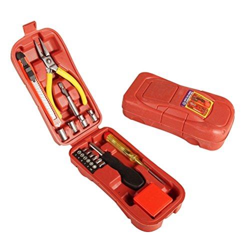 OUNONA 16PCS Auto Repair Tool Set Kombination Tool Box Messer Zange Schraubendreher Sockets Rolle Lineal Handwerkzeuge Haushalt Auto Modell Blow kombiniert Hardware-Kit (Tool-box-modell)