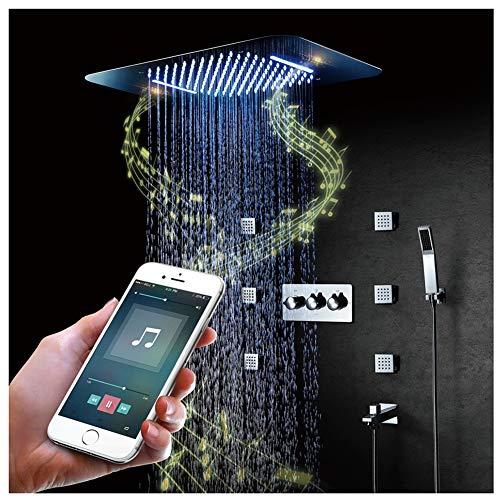 Verborgene Led (Dual Funktionen Duschsystem Unterputz Duschset Intelligente Musik Bluetooth-Steuerung in Der Wand Verborgene LED-Dusche Heißer Und Kalter LED-Spitzenspray,Phone)