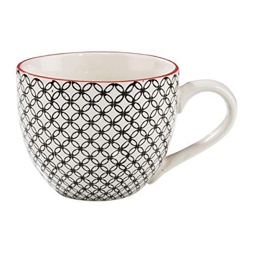 BUTLERS Retro Tasse 550ml - Schwarze Kaffeetasse Vintage Design - Hochwertige Porzellantasse, Kaffeebecher, bunte Tasse