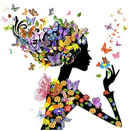 KAMIERFA Schmetterling Blumen Mädchen Muster Diamant Stickerei Bilder Strass Kreuzstich für Haus Dekor (Kreuzstich-muster Portrait)