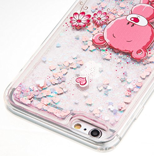 For iPhone 6 PLUS 5.5[CUTE SPARKLING]Novelty Creative Liquid Glitter Design Liquid Quicksand Bling Adorable Flowing Floating Moving Shine Glitter Case -GOLD EIFFEL PINK BEAR