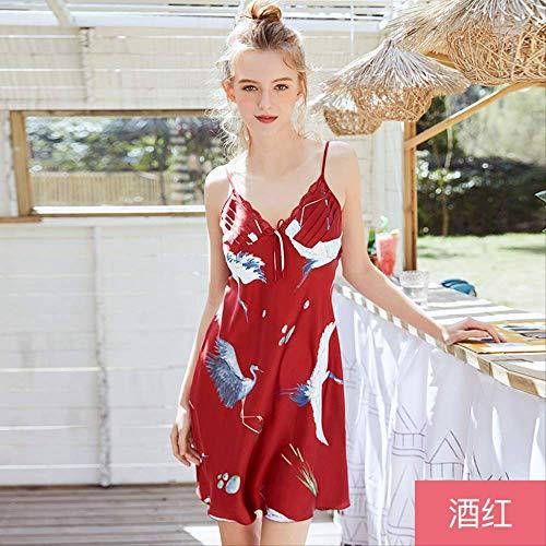 NSSYSKS New Multi Farben M l XL Größen Nachthemd für weibliche Frühling und Sommer Nachthemden mit Tiere Druck hausgemachte Kostüme XL rot (Damen Hausgemachte Kostüm)