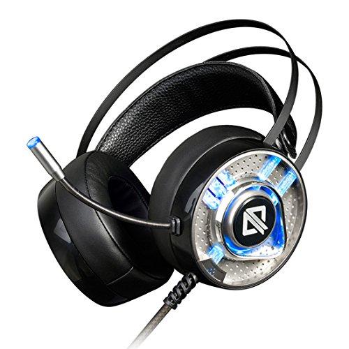 3 Licht Crackle (schutton Virtual Surround Sound USB Gaming Headset mit Mikrofon Intelligente Geräuschunterdrückung Gaming Kopfhörer LED (Rainbow) Licht für Laptop PC Mac)