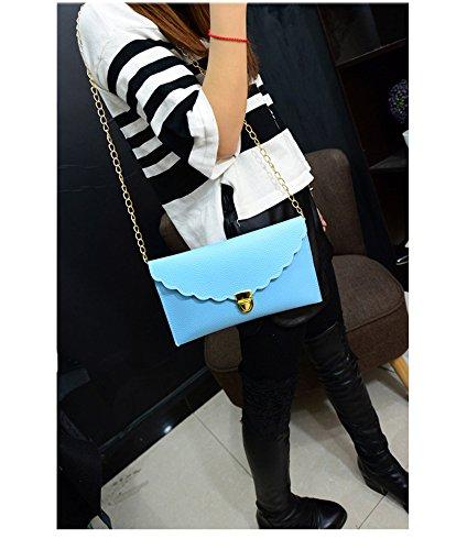 Cheerlife Damen Envelope Clutch Messenger Umhängetasche Schultertasche Handtasche Geldbörse Tasche in vielen Farben Hellblau
