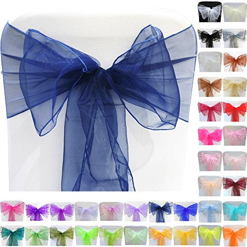 TtS 100pcs 22x280cm Organza Sashes Chair Cover Bows Sash Wider Sashes Fuller Bow Banquet Wedding Party Decoration #23 Navy Blue
