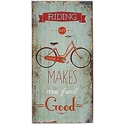 Pared Cartel Madera bicicleta Bicycle Cartel de madera 40x 20cm Decoración de pared placa decorativa, MDF, madera, Riding My Bicycle, 40cm hoch, 20cm breit, 1cm tief