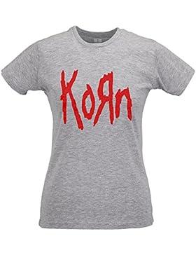 LaMAGLIERIA Camiseta Mujer Slim Korn Red Print - T-Shirt drock Metal 100% Algodòn Ring Spun