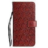 DENDICO Funda LG G7, Premium Flip Libro Cuero Carcasa, Carcasa PU Leather con TPU Silicona Protección Carcasa para LG G7 - Café
