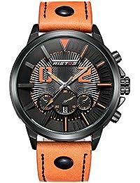 iwatch Homme Montre bracelet lumière LED 30m étanche date analogique quartz bracelet en cuir Montre de sport orange 001–4