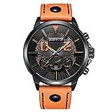 iwatch Homme Montre bracelet lumière LED 30m étanche date analogique quartz bracelet en cuir Montre de sport orange 001–4...