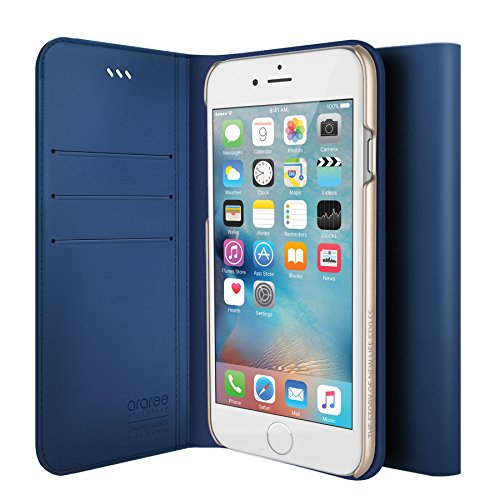 iPhone 6S Plus Fall, araree® [das Original] Premium Echtleder Wallet Case Flip Cover Mit Kreditkarte ID Halter für Apple (2015) CLASSIC BLUE