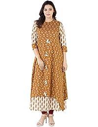 Khushal Cotton Printed Long Lenght Double Layer Designer Dress , Kurta/Kurti For Women's/Girls'/Bride BEST Full...