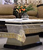 #9: Kuber Industries Transparent Center Table Cover 4 Seater 40*60 Inches (Golden Lace)